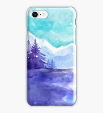 Winter Snow Landscape, Winter Iceland, Watercolor Mountains Art Winter iPhone Case/Skin