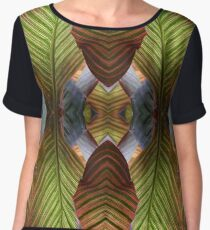 Striped Canna Lily Leaves Chiffon Top