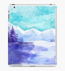 Winter Snow Landscape, Winter Iceland, Watercolor Mountains Art Winter iPad Case/Skin