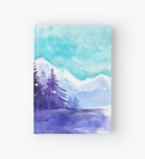 Winter Snow Landscape, Winter Iceland, Watercolor Mountains Art Winter Hardcover Journal