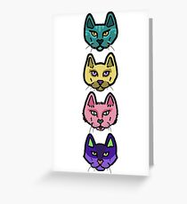 """Cat Heads"" Greeting Card"
