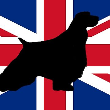 english springer spaniel silhouette on flag by marasdaughter