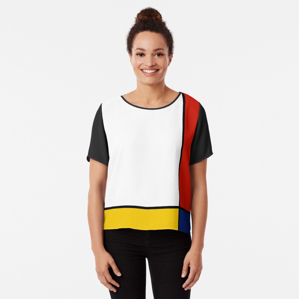 Mondrian-Art-abstrakte Kunst Chiffon Top