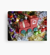 Train Bauble / Ball on a Christmas Tree, Painting Effect Photograph Canvas Print