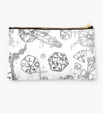 Pretty d&d for babes everywhere-White (Monochromatic) Studio Pouch