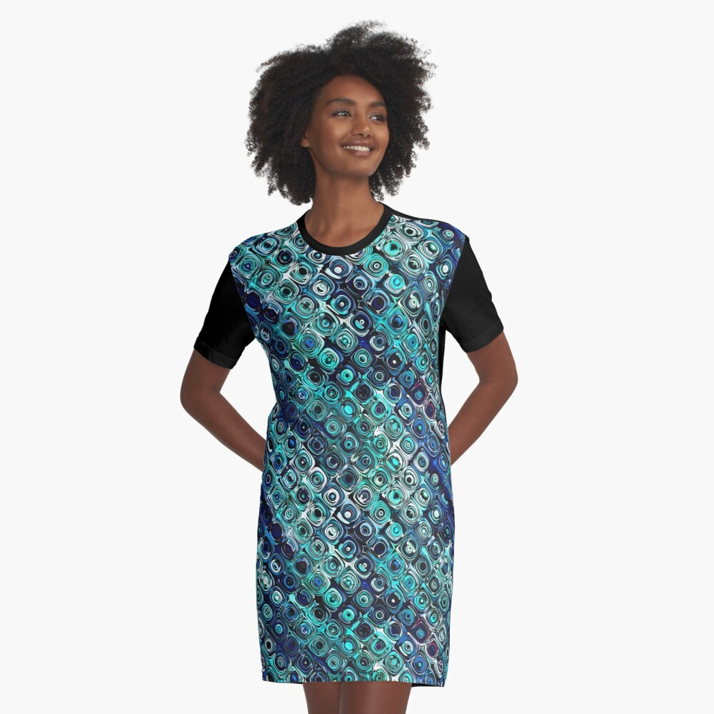 Blue And Green Pattern Graphic T-Shirt Dress