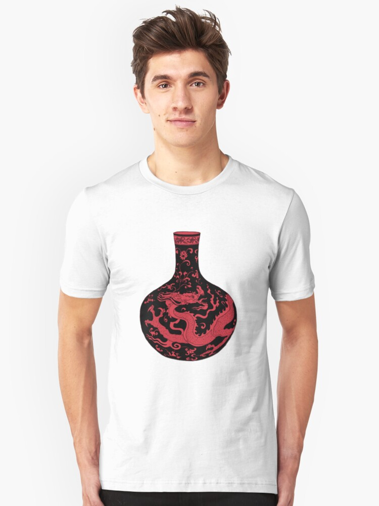 Red Chinese Dragon Vase Unisex T-Shirt Front