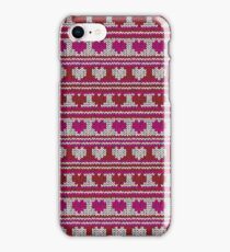 Knitted Pattern Set 23 - Red/Pink Hearts iPhone Case/Skin