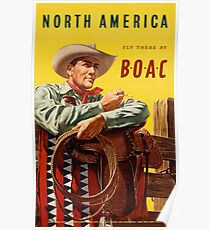 Vintage Travel Poster – BOAC to North America Poster