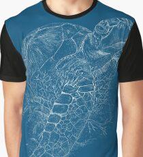 Seaturtle - Scraperboard -Deep Blue Graphic T-Shirt