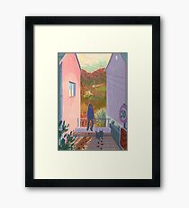 between two buildings  Framed Print