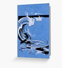 Dolphins surfing waves 107 Greeting Card
