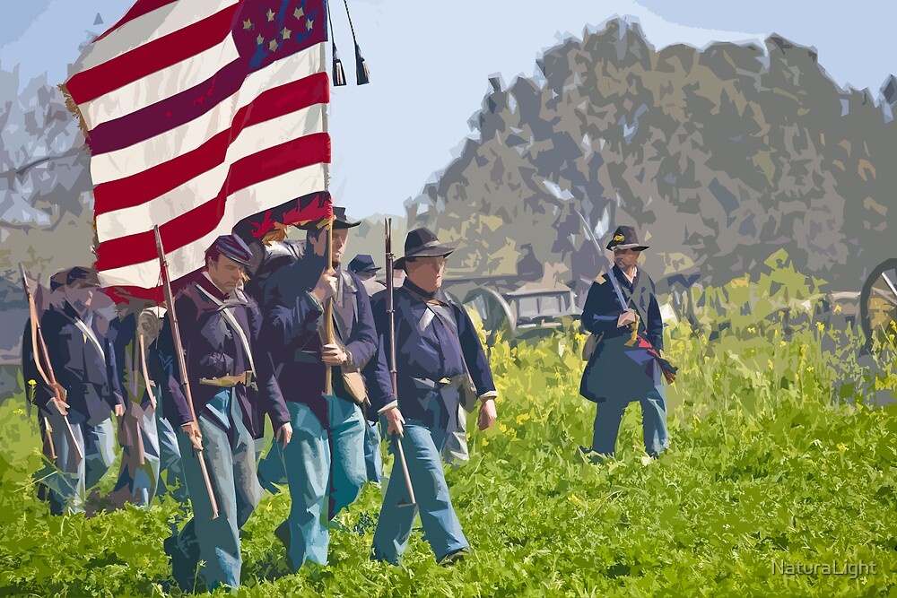 "Stylized photo of Civil War re-enactors marching on a ""battlefield"". by NaturaLight"