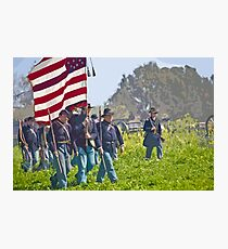 """Stylized photo of Civil War re-enactors marching on a """"battlefield"""". Photographic Print"""