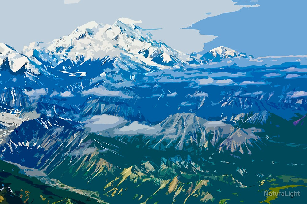 Stylized photo of Denali Mountain (Mt. McKinley). by NaturaLight