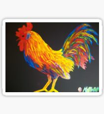 Colorster Rooster Finger Painted MKART MKinnamanArt Sticker