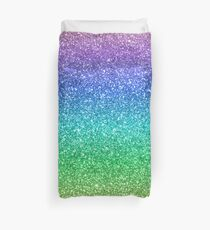 Violet Purple Aqua Blue Seafoam Green Magic Rainbow Sparkly Glitter Duvet Cover