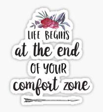 Pegatina La vida comienza al final de su zona de confort - Cita inspirada