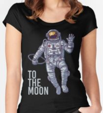Bitcoin astronaut to the Moon -light text Women's Fitted Scoop T-Shirt