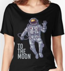 Bitcoin astronaut to the Moon -light text Women's Relaxed Fit T-Shirt