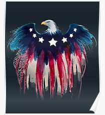 American Flag Bald Eagle: Red, White & Blue  Poster