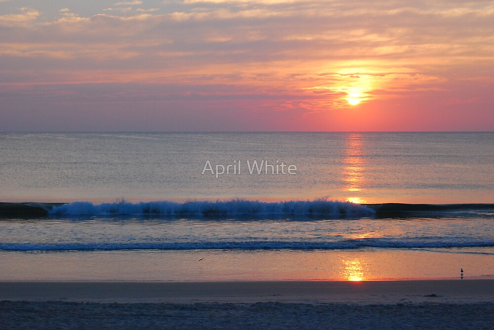 Ocean Waves at Sunrise by April White