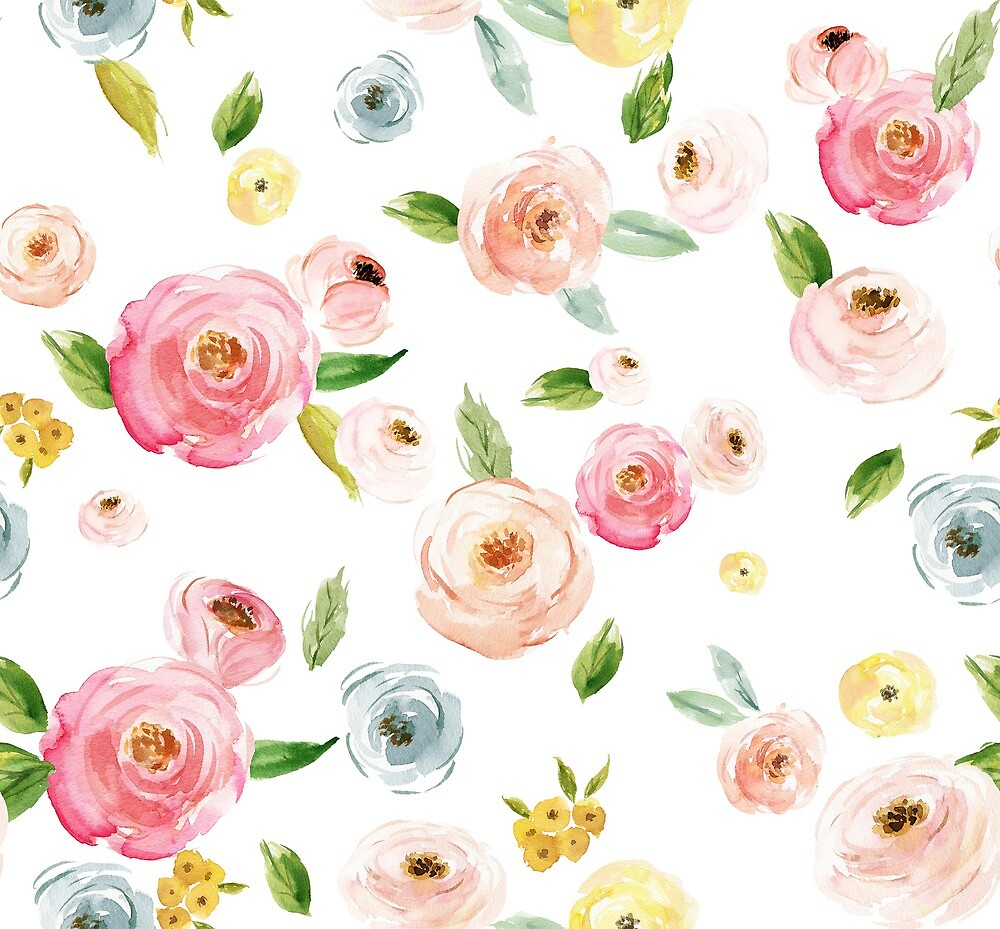 Watercolor Floral Blossom Pattern by sweetraindesign