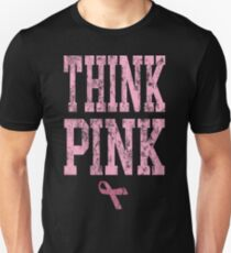 Think Pink Breast Cancer Awareness with Ribbon T-Shirt