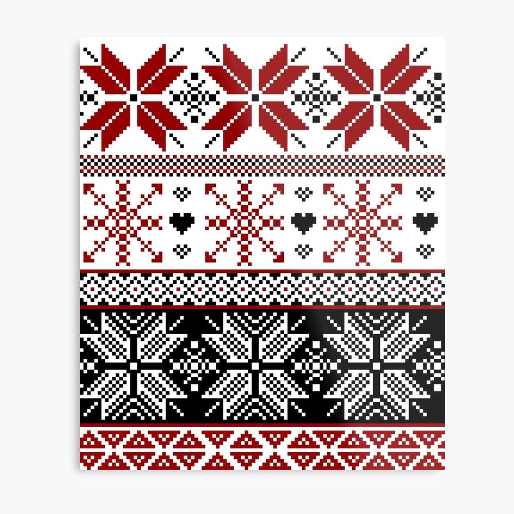 Red and Black Winter Fair Isle Pattern Metal Print
