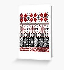 Red and Black Winter Fair Isle Pattern Greeting Card