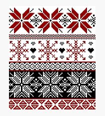 Red and Black Winter Fair Isle Pattern Photographic Print