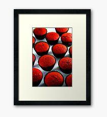 Freshly baked red velvet cupcakes Framed Print
