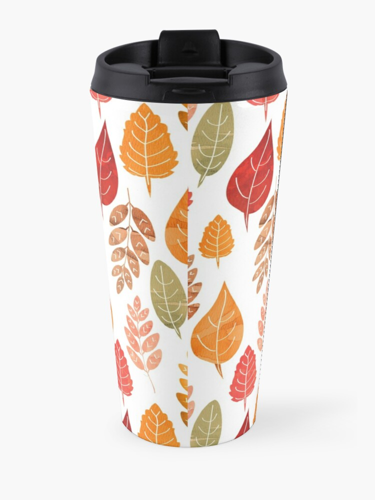 Alternate view of Painted Autumn Leaves Pattern Travel Mug