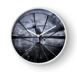 Burmese Net Fisherman - Clock by Glen Allison
