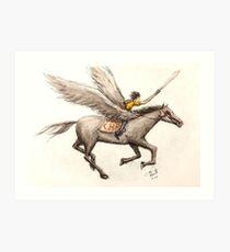 Lámina artística Percy Jackson y pluma de Blackjack y acuarela