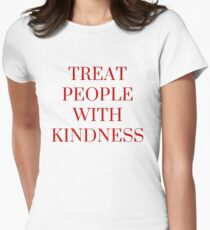 Treat People with Kindness in Pink Women's Fitted T-Shirt