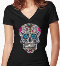 sequin Sugar Skulls Women's Fitted V-Neck T-Shirt