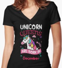 Unicorn Queens are born in December Women's Fitted V-Neck T-Shirt