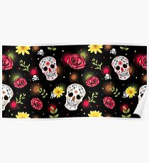 Mexican carnival Dia de los muertos (Day of the dead) concept with sugar skulls, roses, fireworks and daisy flower.  Poster