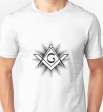 Masonic symbol of square and compass, with rays and G letter T-Shirt