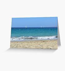 The beautiful blue Aegean Sea in Naxos, Greece Greeting Card