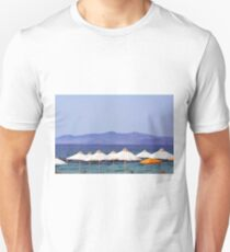White umbrellas at the beach in Greece  T-Shirt