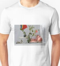 Beautiful terrace in Greece with plants and white walls  T-Shirt