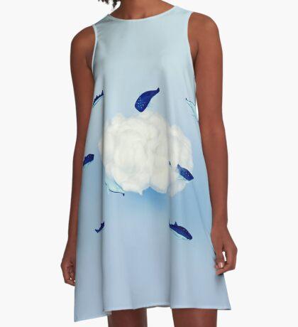 Wale um die Wolke A-Linien Kleid