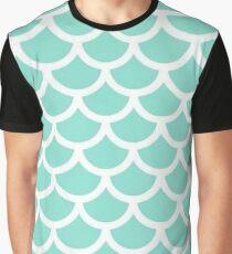 Blue Mermaid Scale Print Graphic T-Shirt