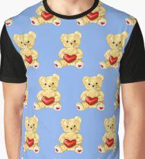 Cute Teddy Bear Blue Pattern Graphic T-Shirt