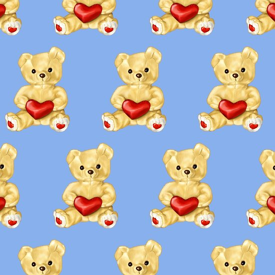 Cute Teddy Bear Blue Pattern by Boriana Giormova