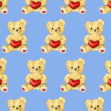 Cute Teddy Bear Blue Pattern by azzza