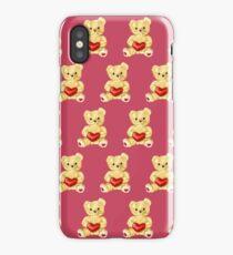 Cute Teddy Bear Pink Pattern iPhone Case