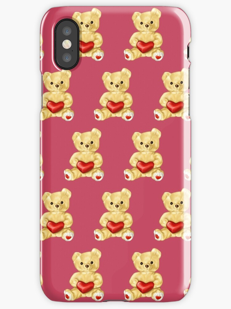 Cute Teddy Bear Pink Pattern by Boriana Giormova